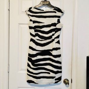 Banana Republic Zebra Sheath Dress Size 2P